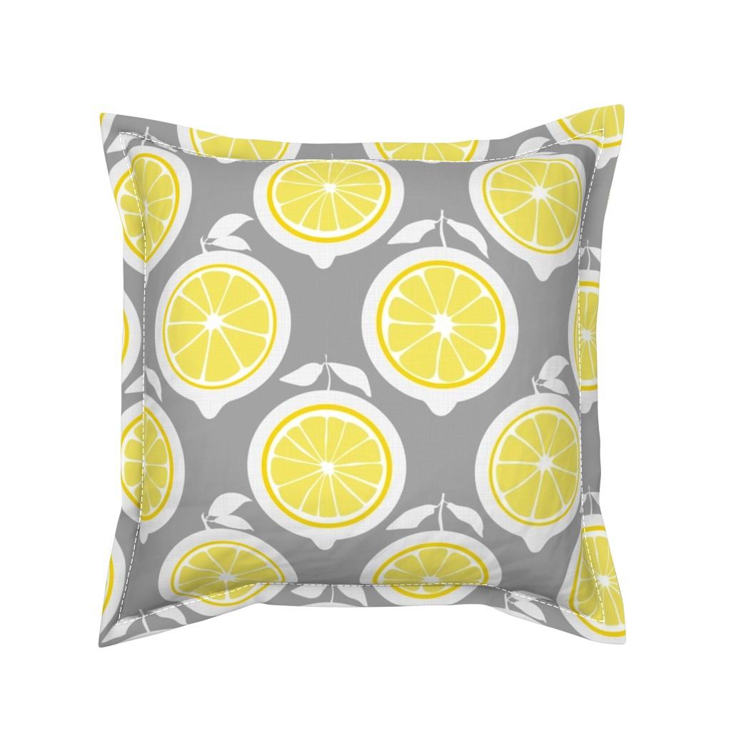 Serama Throw Pillow featuring  Julie's Yellow Lemon Grid XL by juliesfabrics