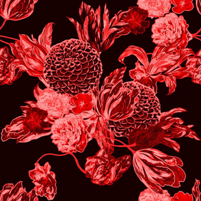 mid century modern floral ~ black and crimson