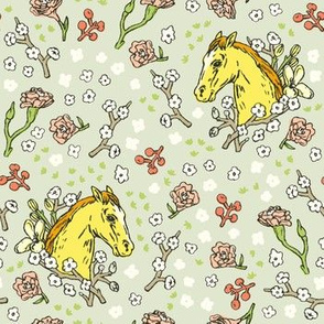 Horse Cameo with Flowers | Green