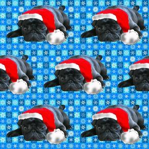 Black Pug in Santa Hat fabric