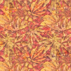 "Gold/Orange ""Batik"" Marijuana Leaf (2)"
