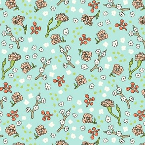 Scattered Flowers | Teal