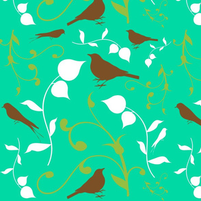 Swirly Bird Large Print Multi Turquoise
