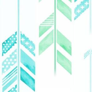 Herringbone Arrows in Blue & Green