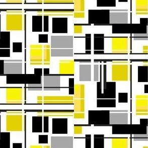 mid century modern black white gray and yellow geometric