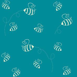 Buzzing bees (custard on turquoise)