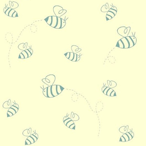 Small buzzing bees (turquoise on custard)