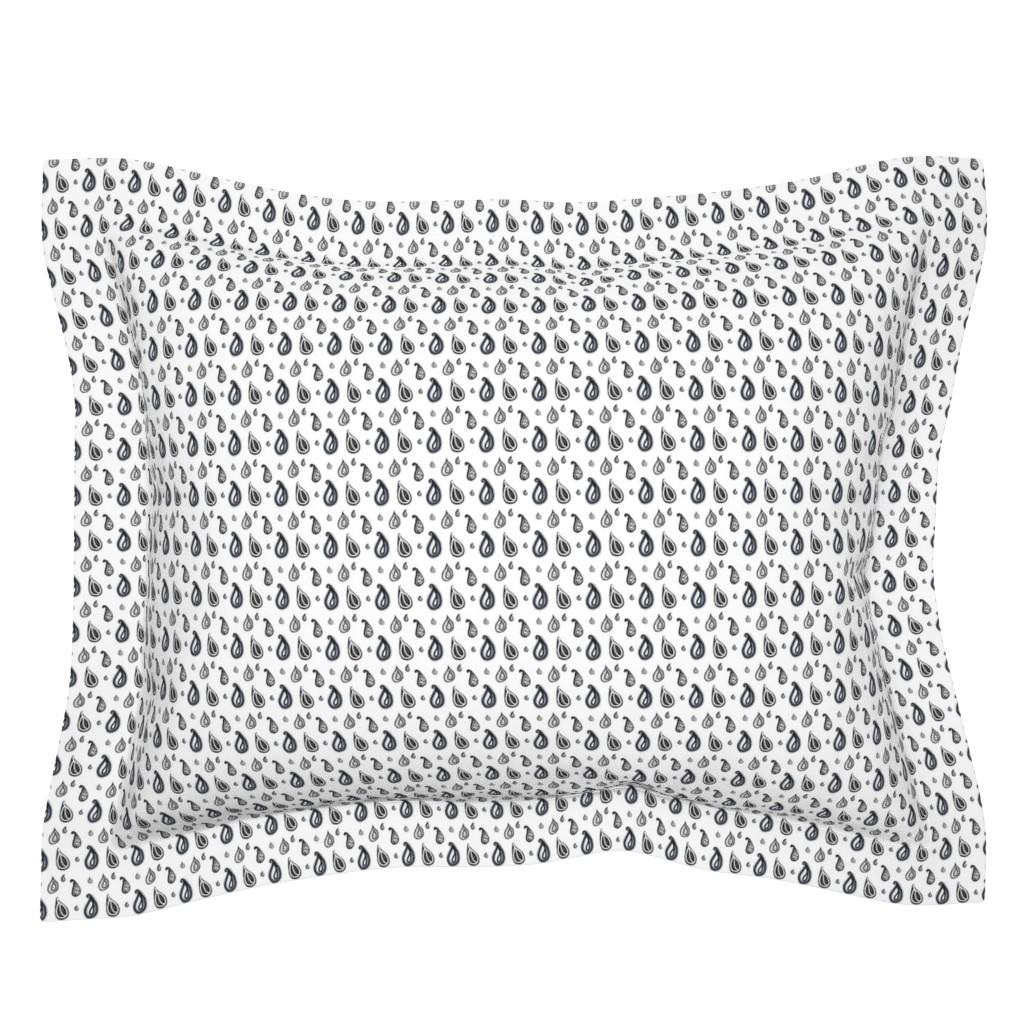 Sebright Pillow Sham featuring Bohemian Weather Paisley Raindrops on White by bohobear