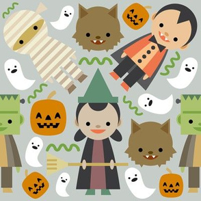 Halloween Fun Gray Background