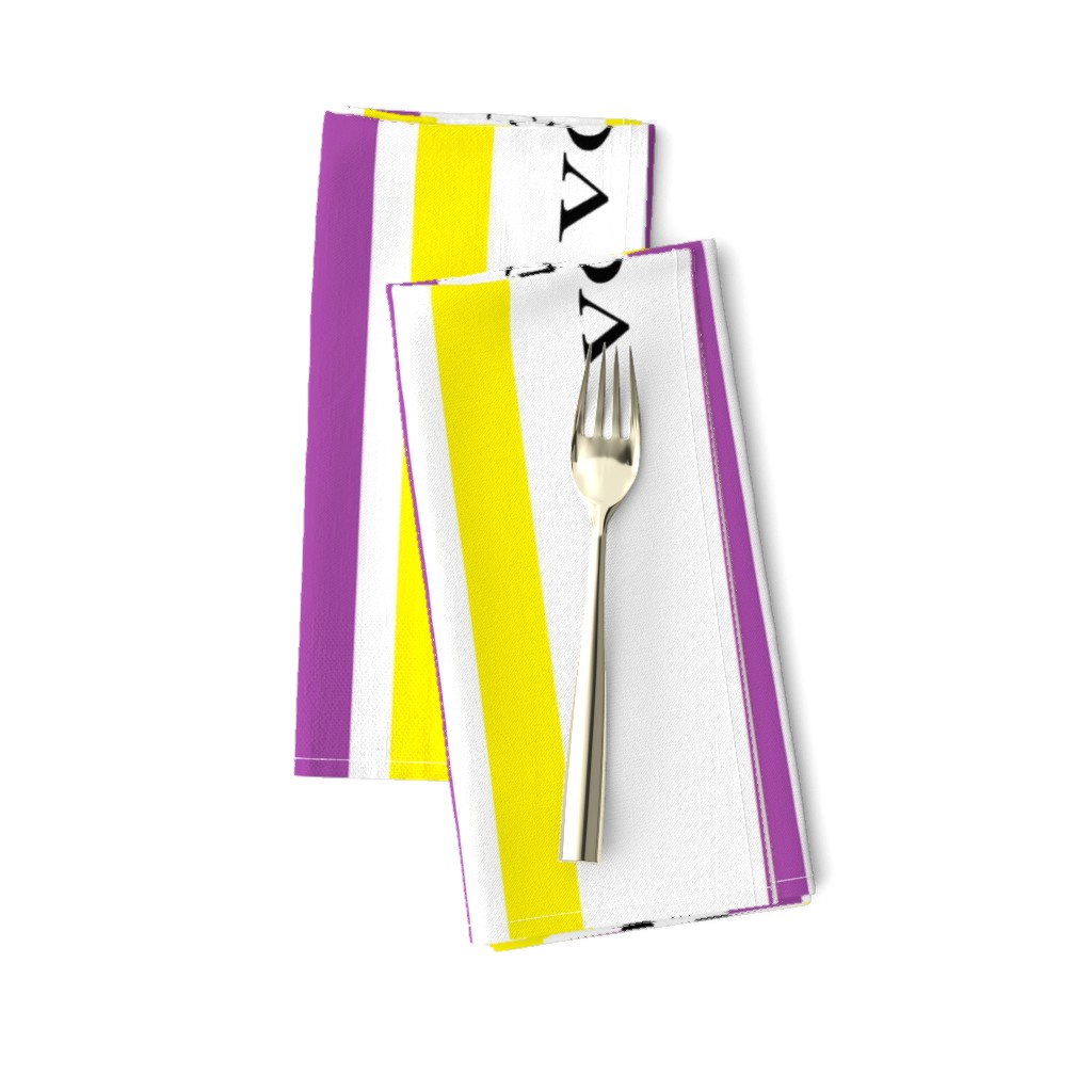 Amarela Dinner Napkins featuring Suffragist Sash - Yellow and Violet by fentonslee