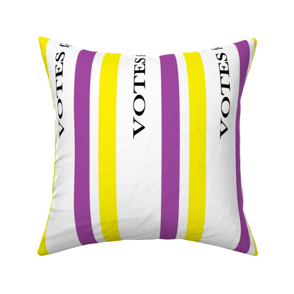 Catalan Throw Pillow featuring Suffragist Sash - Yellow and Violet by fentonslee