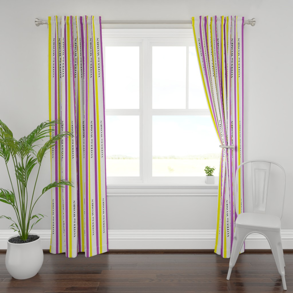 Plymouth Curtain Panel featuring Suffragist Sash - Yellow and Violet by fentonslee