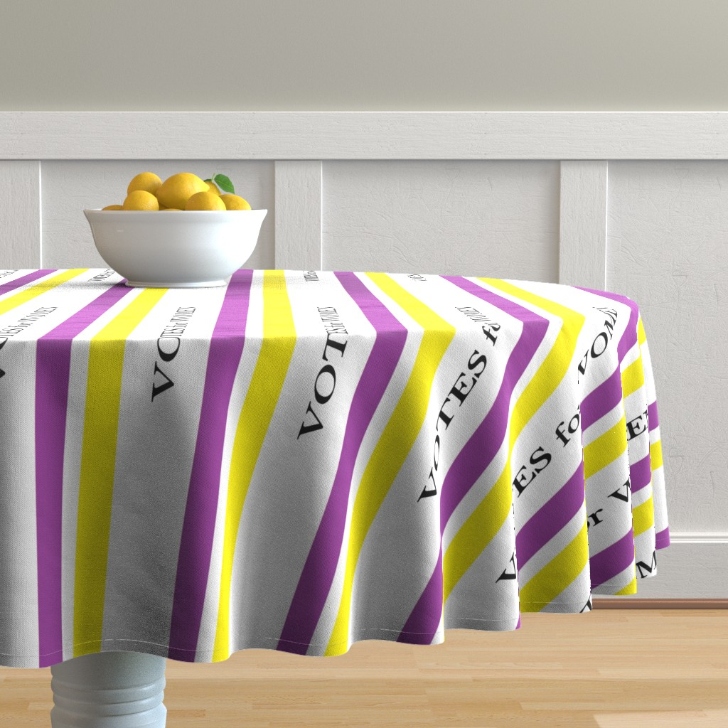 Malay Round Tablecloth featuring Suffragist Sash - Yellow and Violet by fentonslee