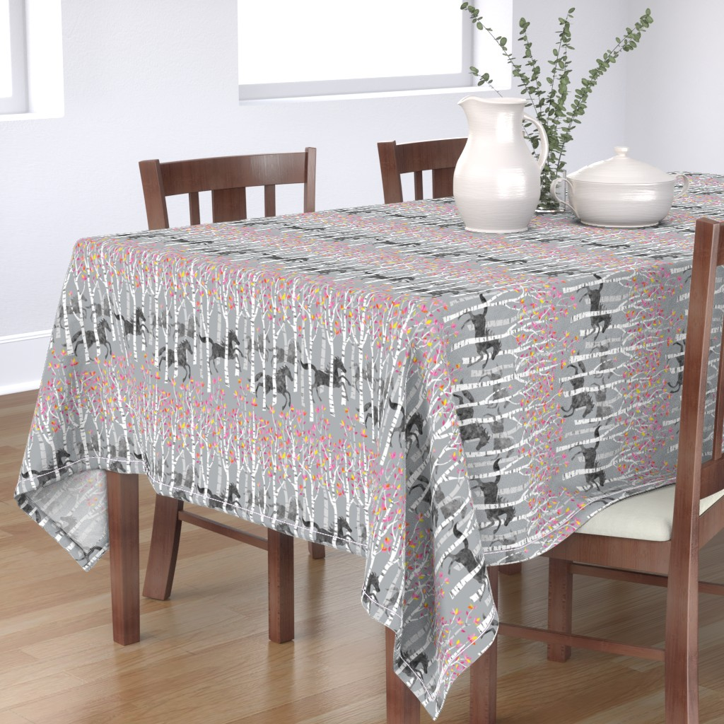 Bantam Rectangular Tablecloth featuring All the pretty little horses by vo_aka_virginiao