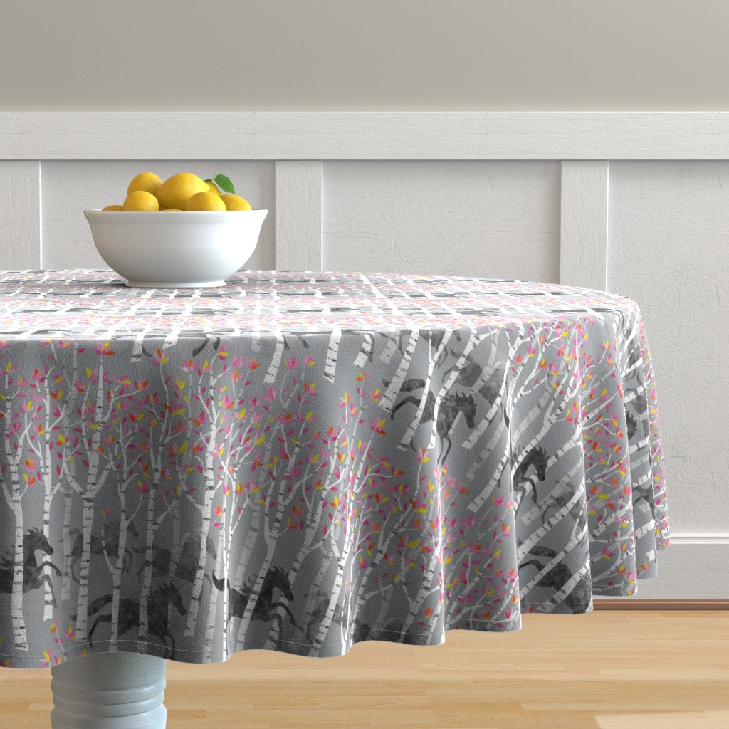 Malay Round Tablecloth featuring All the pretty little horses by vo_aka_virginiao