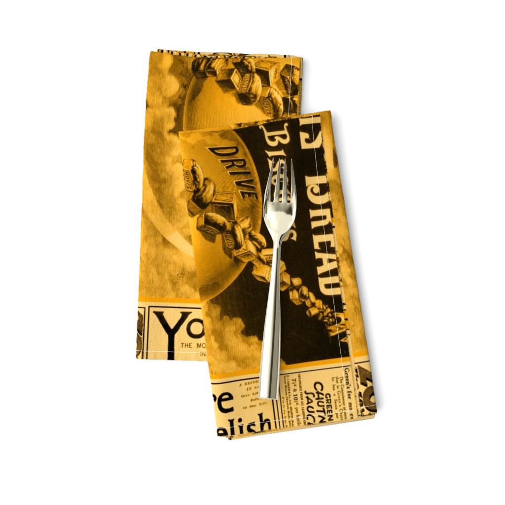 Amarela Dinner Napkins featuring Tea Towel: Vintage British Ads Sepia by callioperosehandcarjones