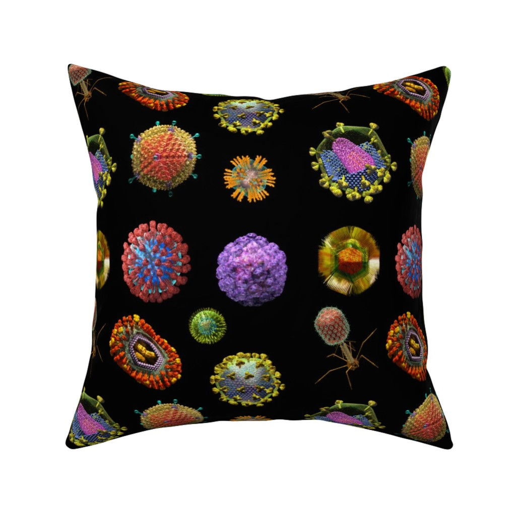 Catalan Throw Pillow featuring VIRUS on BLACK Covid 19 Scrubs by kightleys