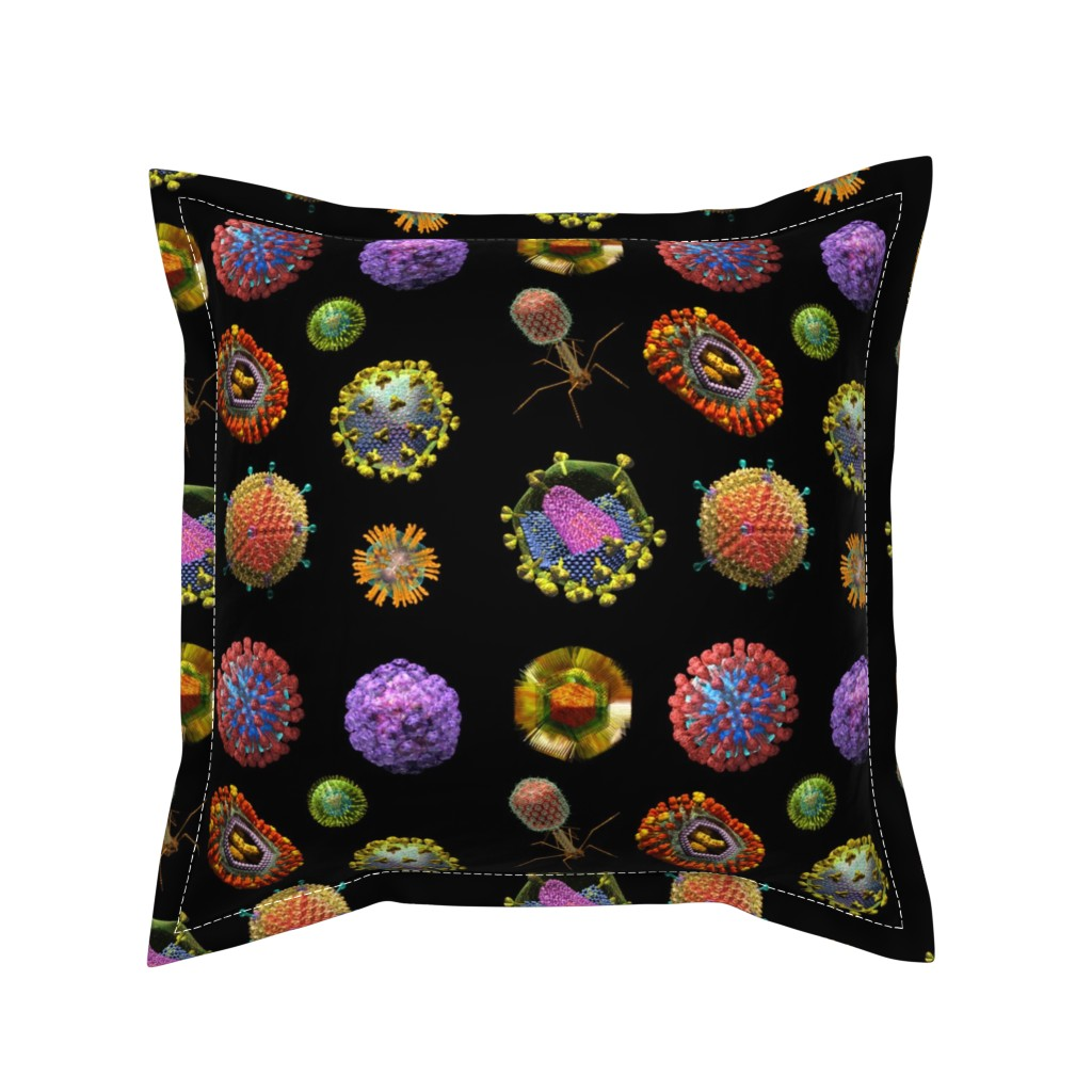 Serama Throw Pillow featuring VIRUS on BLACK Covid 19 Scrubs by kightleys