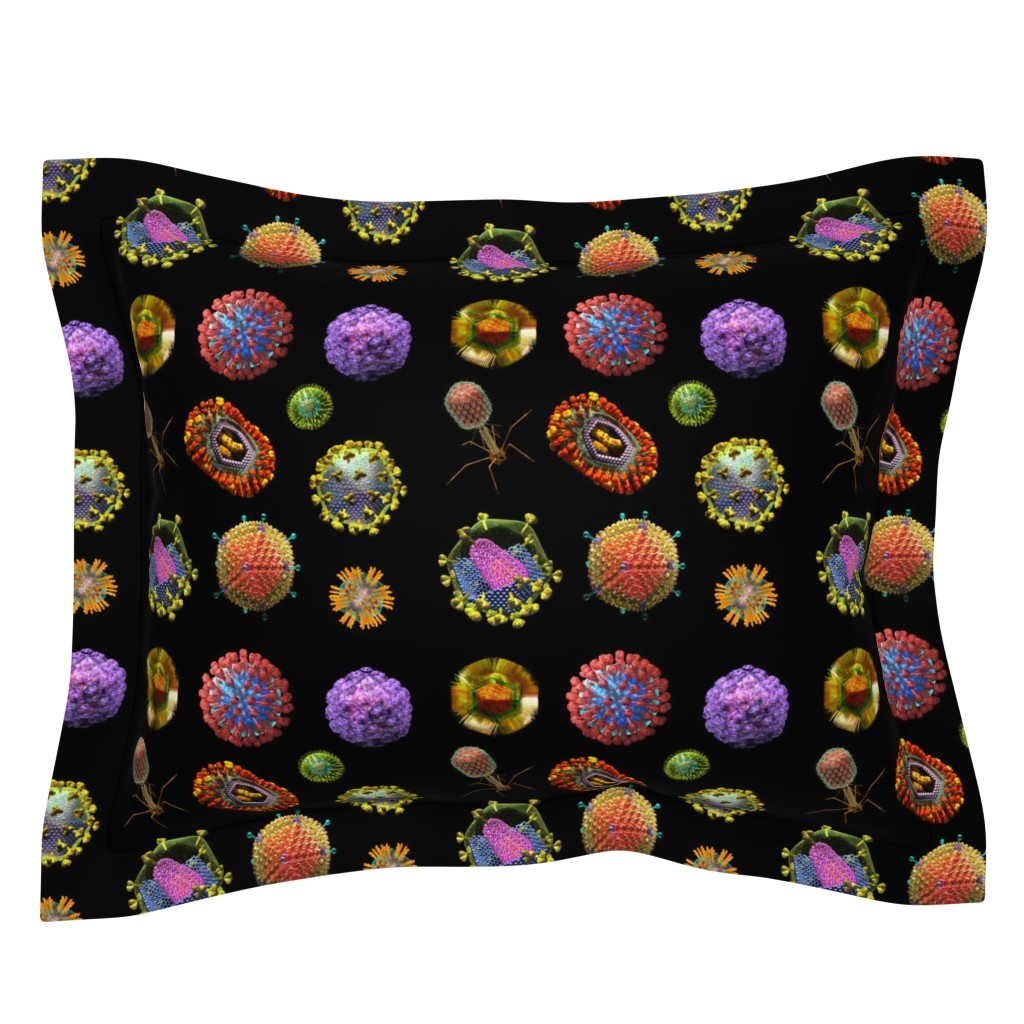 Sebright Pillow Sham featuring VIRUS on BLACK Covid 19 Scrubs by kightleys