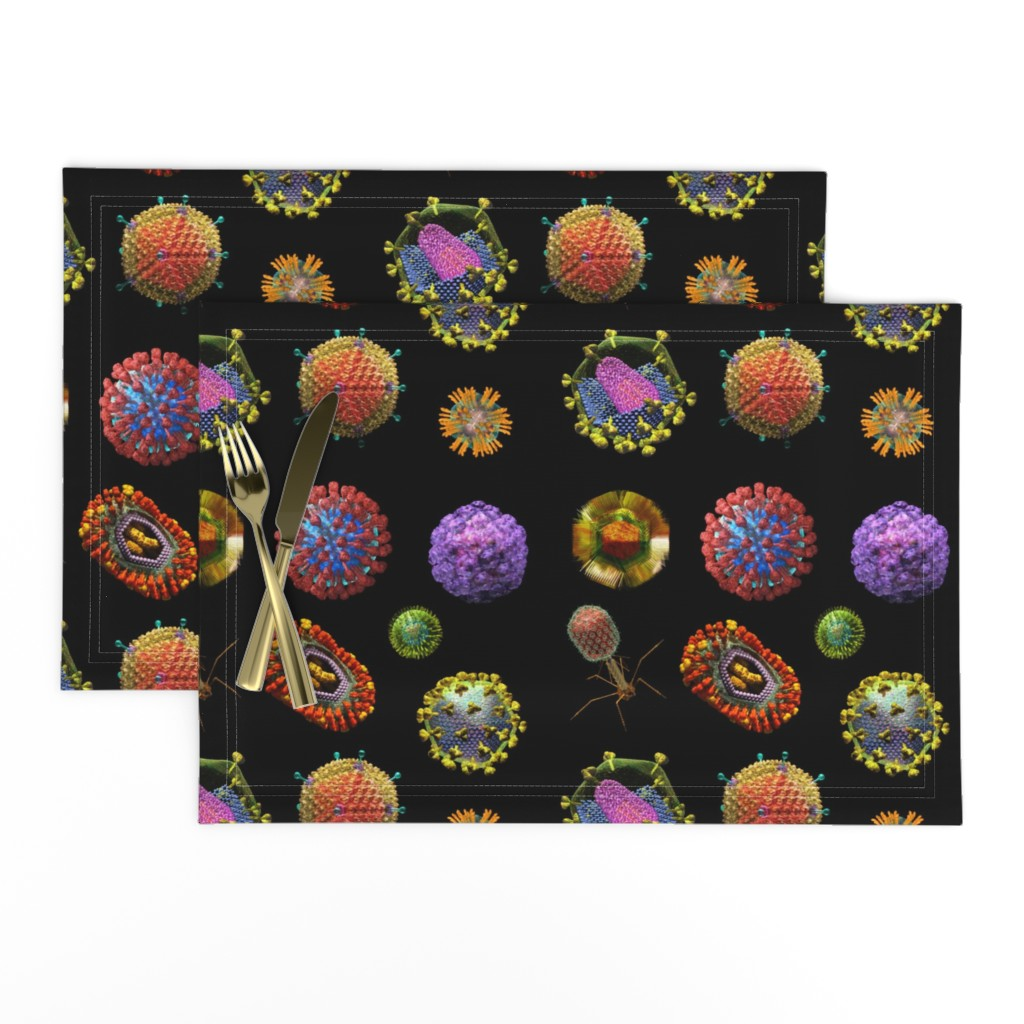 Lamona Cloth Placemats featuring VIRUS on BLACK Covid 19 Scrubs by kightleys
