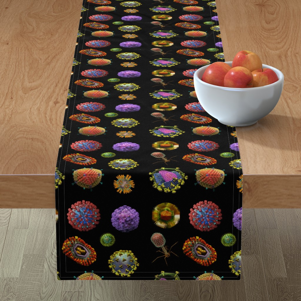 Minorca Table Runner featuring VIRUS on BLACK Covid 19 Scrubs by kightleys