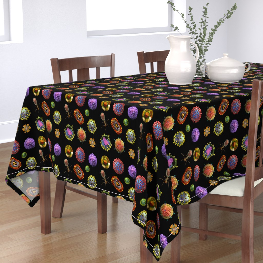 Bantam Rectangular Tablecloth featuring VIRUS on BLACK Covid 19 Scrubs by kightleys