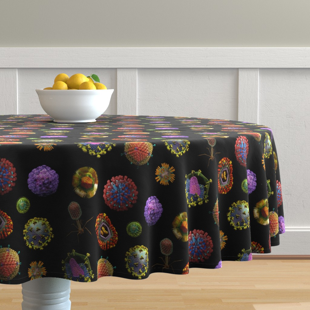 Malay Round Tablecloth featuring VIRUS on BLACK Covid 19 Scrubs by kightleys