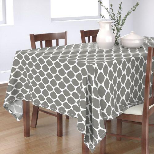 Rectangular Tablecloth Zebra Stripe Gray White Striped Cotton Sateen Tablecloth  Spoonflower Fabric Cashmere Zebra by willowlanetextiles