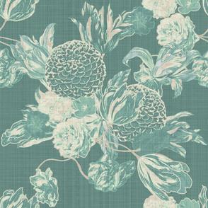 mid century modern floral ~ Hummingbird Linen