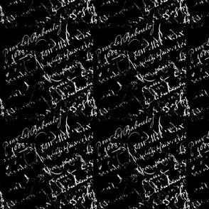 White French Script on Black background