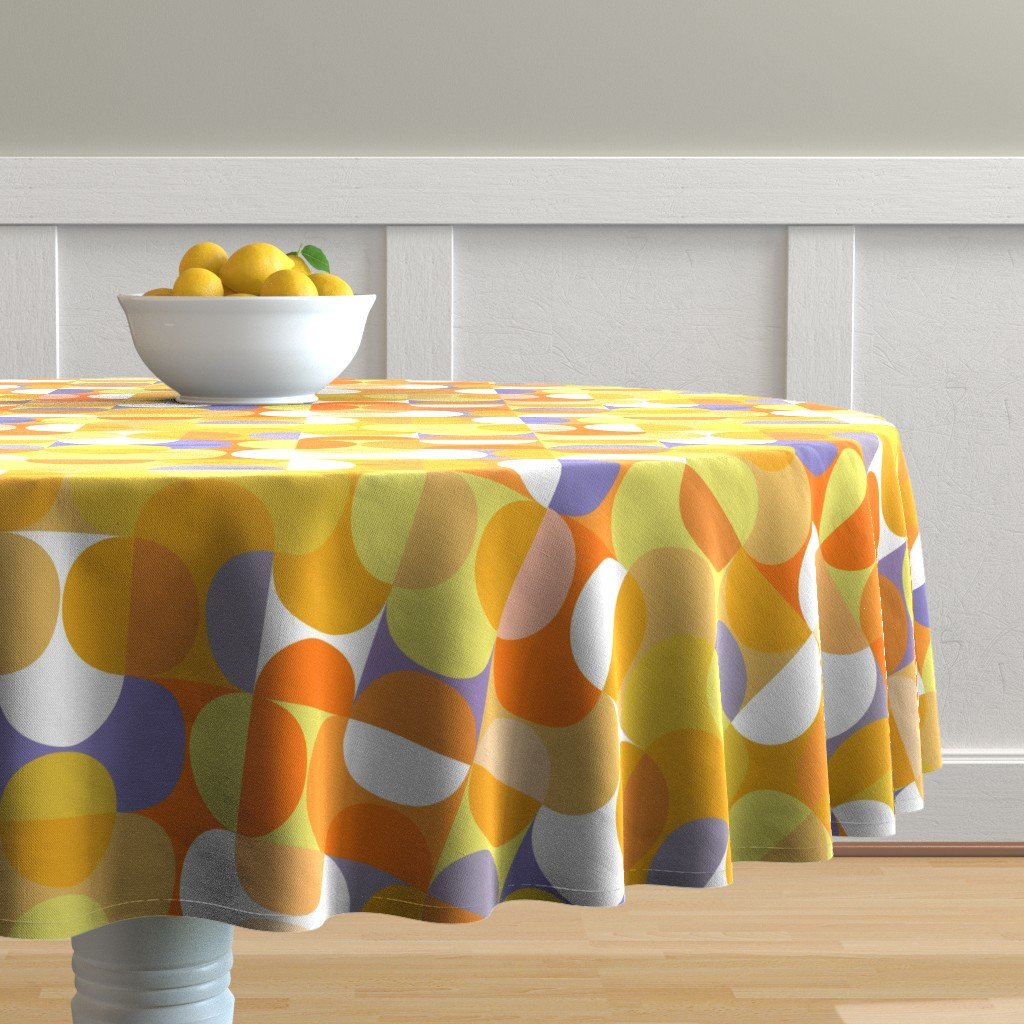 Malay Round Tablecloth featuring lemon-jello-01b by kurtcyr