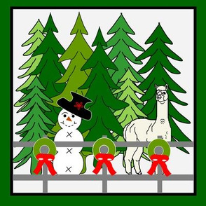 Snowman, Alpaca, Christmas Wreaths and Evergreen Trees Mini Quilt