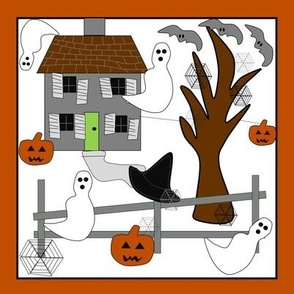 Halloween Haunted House , Witch Hats, Spiders, Spider Webs, Bats and Jack O Lantern  Mini-Quilt Fabric