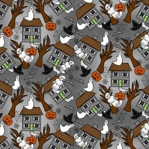 Halloween Haunted House, Witch Hats, Spiders, Spider Webs, Bats and Jack O Lantern  Fabric
