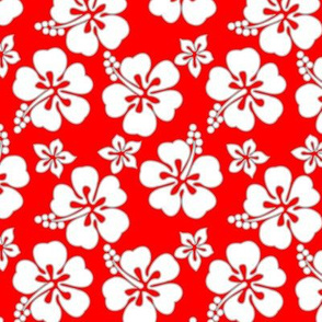 Hawaiian Hibiscus - White on Red