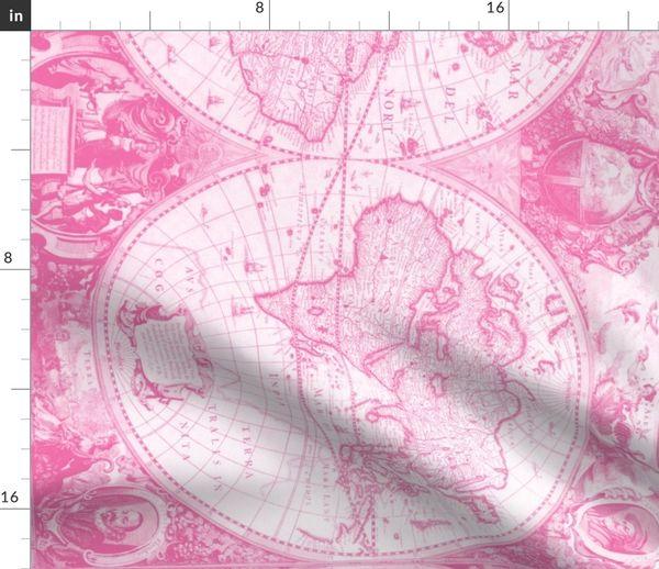 Pink World Map Spoonflower