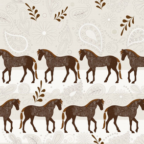A Dance with horses on white