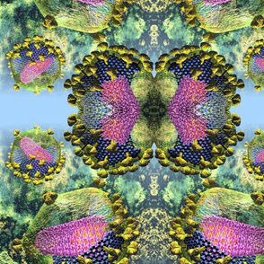 HIV sectioned virions on Blue