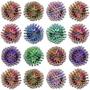 Coloured Coronaviruses on White SMALL Covid Virus Polka