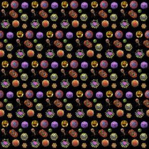 VIRUSES on black tiny Virus Polka