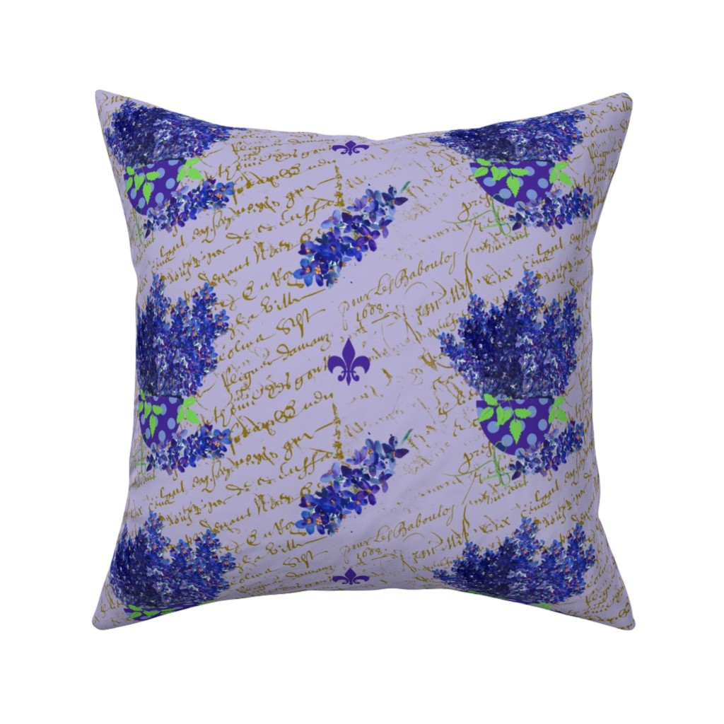Catalan Throw Pillow featuring Delphinium on lavender french script_edited-2 by karenharveycox