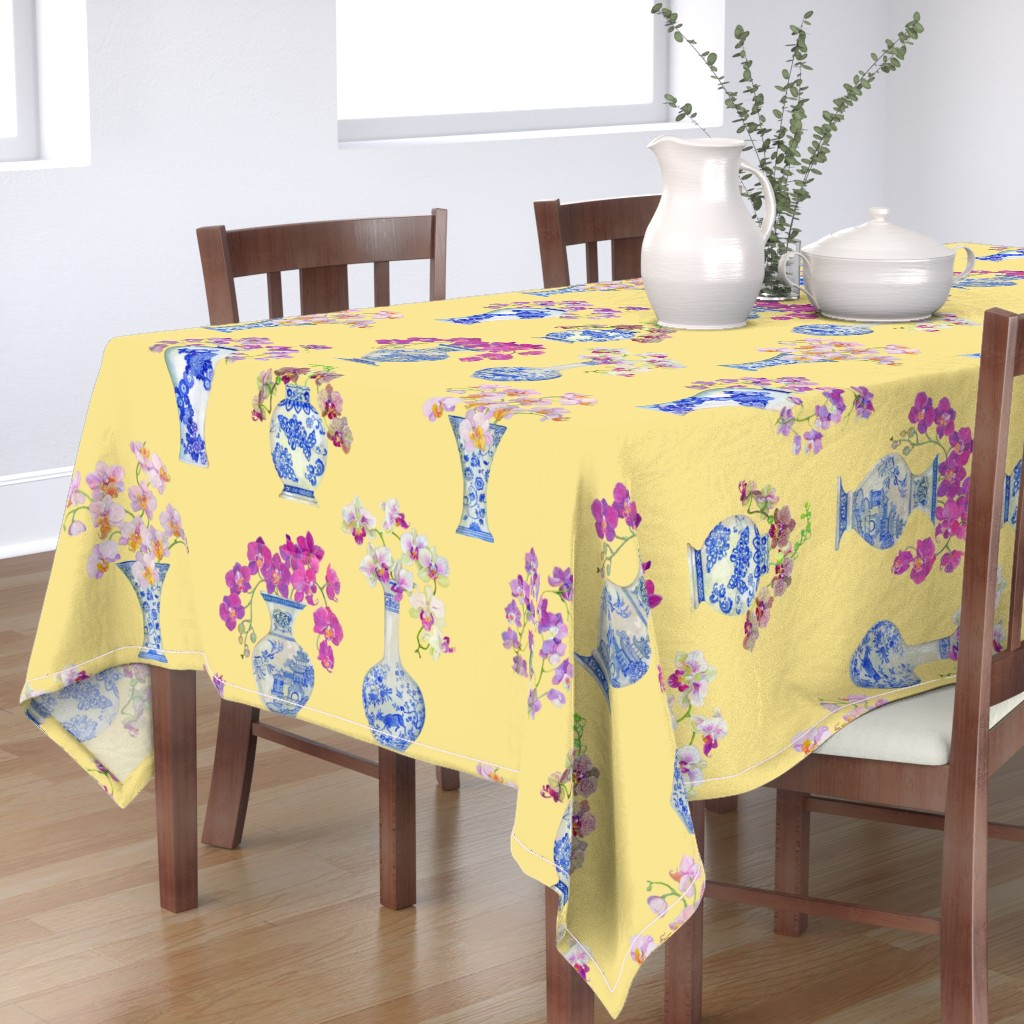Bantam Rectangular Tablecloth featuring Ming Vase Orchids- Yellow by mcsparrandesign