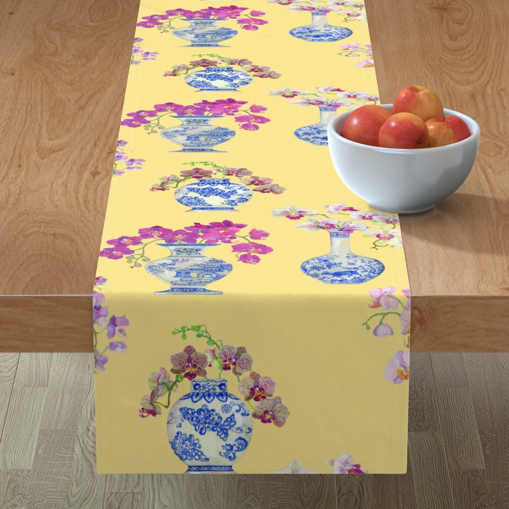 Minorca Table Runner featuring Ming Vase Orchids- Yellow by mcsparrandesign