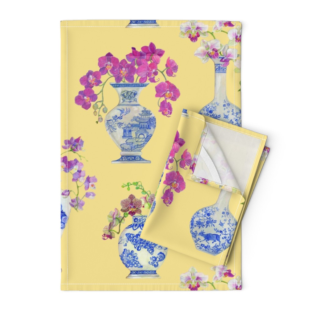 Orpington Tea Towels featuring Ming Vase Orchids- Yellow by mcsparrandesign