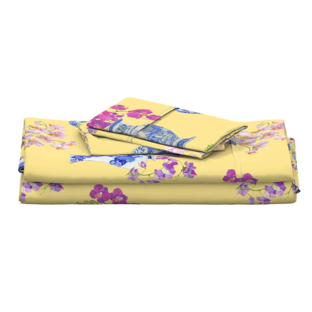 Langshan Full Bed Set featuring Ming Vase Orchids- Yellow by mcsparrandesign