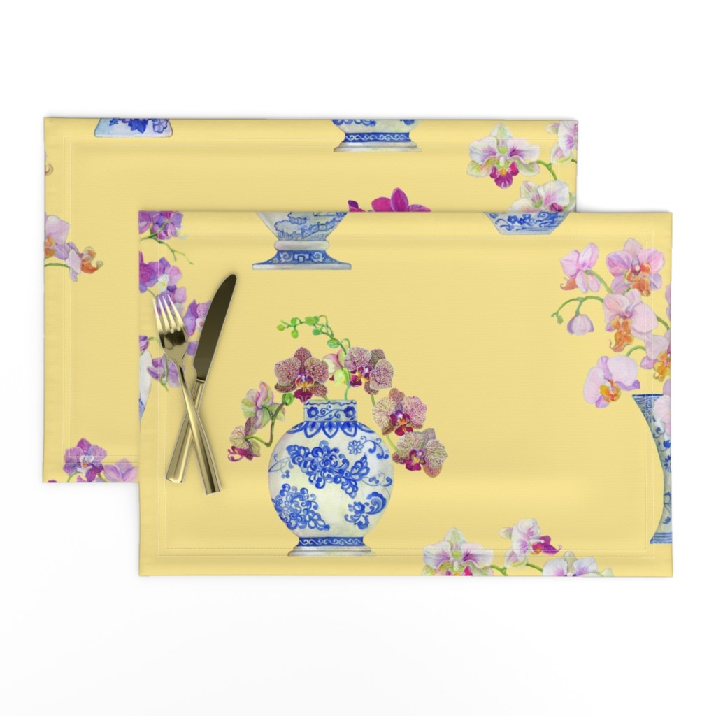 Lamona Cloth Placemats featuring Ming Vase Orchids- Yellow by mcsparrandesign