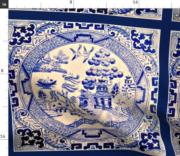 Tissu Au Mètre Saule Bleu Céramique Asiatique Tuile Chinois Victorien