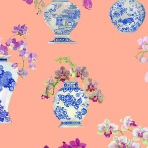 Ming Vase Orchids- Peach
