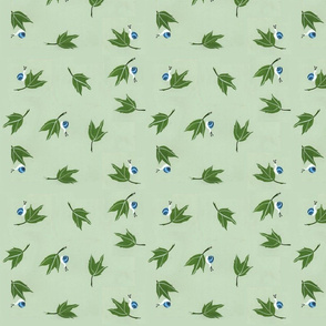 Oak Leaves with Blue Snails