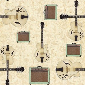Cream Blues Guitar with Amp